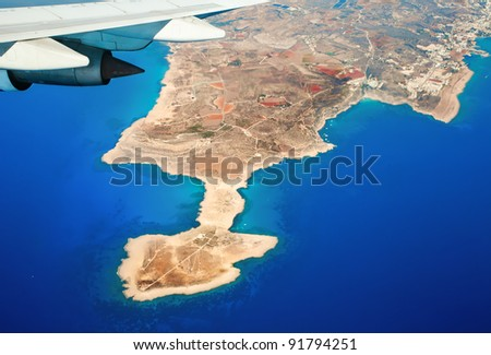 Beautiful kind on island cyprus from the plane. - stock photo