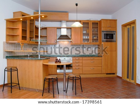 Beautiful kitchen and dining-room - stock photo