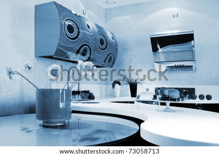 beautiful kitchen in a modern apartment - stock photo
