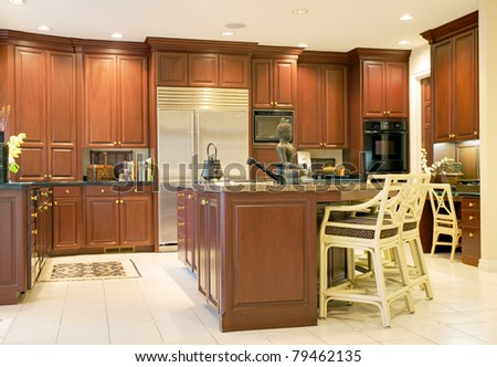 Beautiful Kitchen in Luxurious New Home - stock photo