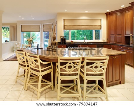 Beautiful Kitchen  in Luxury Home - stock photo