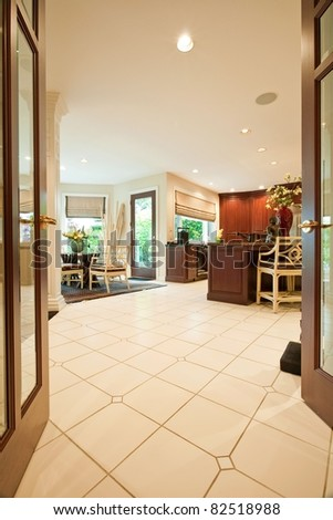 Beautiful Kitchen Interior Entryway in Luxury Home - stock photo