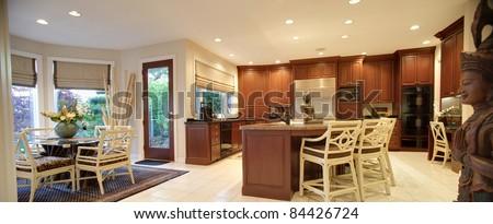Beautiful Kitchen Interior Panorama in New Luxury Home - stock photo