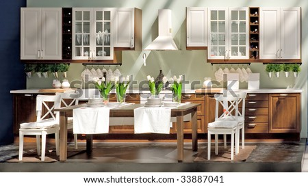 beautiful kitchen interior with sunlight beams (photo) - stock photo