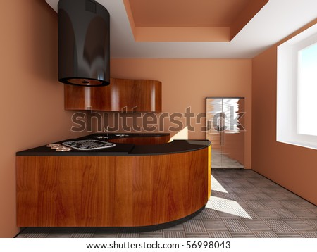 Beautiful kitchen.txt - stock photo