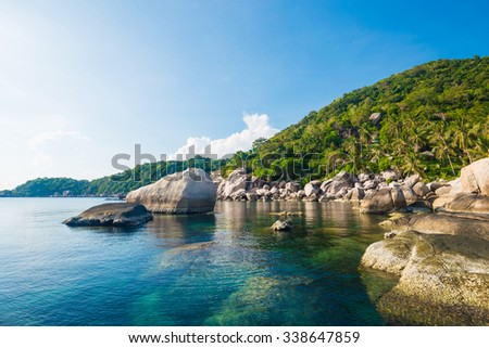 Beautiful Koh Tao islands in Thailand. snorkeling paradise with clear sea water and stones beach - stock photo