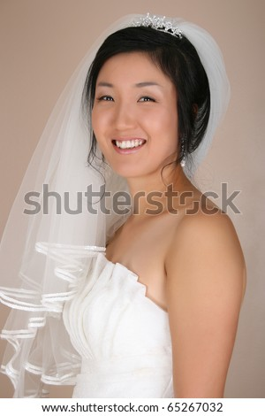 Beautiful Korean bride wearing a traditional wedding gown - stock photo
