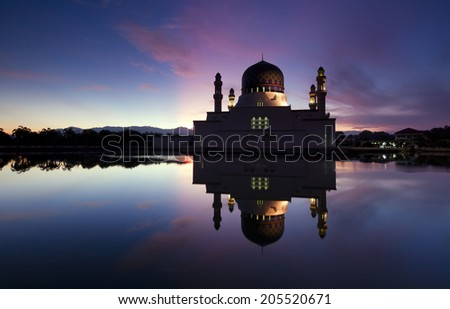 Beautiful Kota Kinabalu city mosque at dawn in Sabah, Malaysia, Borneo - stock photo
