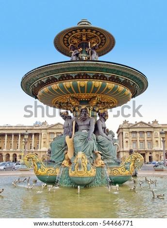 Beautiful La Fontaine des Fleuves (1835) fountain at the popular Place de la Concorde, Paris. - stock photo