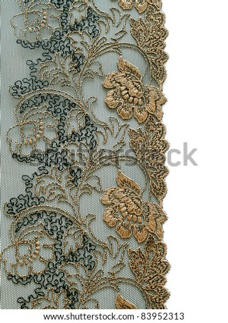 beautiful lace with floral ornament  on white background - stock photo