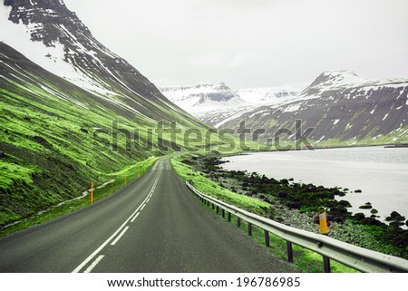 Beautiful ladnscape of highway and fjord at Iceland - stock photo