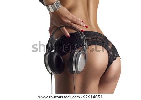 beautiful lady ass with dj headphones isolated on white - stock photo