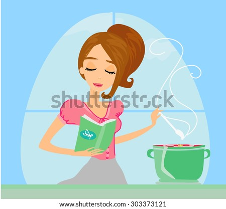 Beautiful lady cooking soup  - stock photo