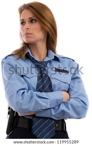 Beautiful lady in a uniform of police officer on a white background - stock photo