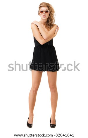 Beautiful lady in casual clothing studio photo - stock photo