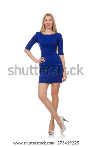 Beautiful lady in dark blue dress isolated on white - stock photo