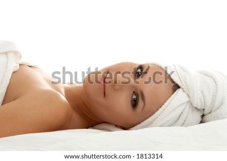 beautiful lady in spa salon - stock photo