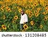 Beautiful lady on big sunflowers field - stock photo