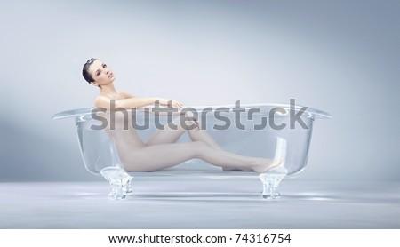 Beautiful lady on the bath - stock photo