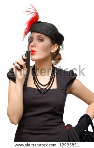 Beautiful lady with gun isolated over a white background - stock photo
