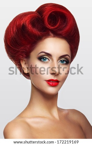 Beautiful lady with hair in the shape of heart