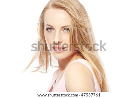 Beautiful lady with perfect makeup and good skin. Horizontal close-up portrait - stock photo