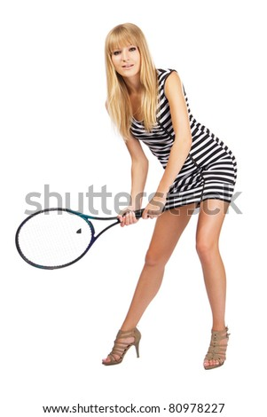 Beautiful lady with tennis racket, isolated on white background. - stock photo