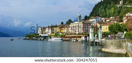 beautiful Lago di Como - panorama of Bellagio - stock photo