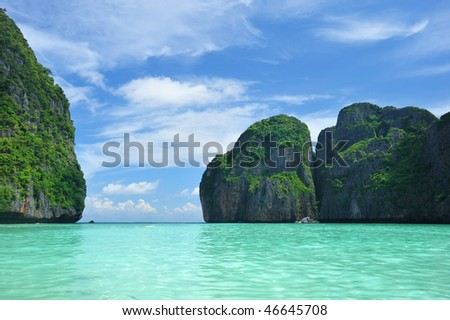 "Beautiful lagoon at  Phi Phi Ley island, the exact place where ""The Beach"" movie was filmed - stock photo"