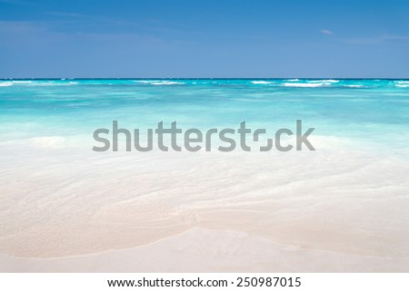 Beautiful lagoon beach on the tropical island paradise of Koh Tachai, Similan National Park, Thailand - stock photo