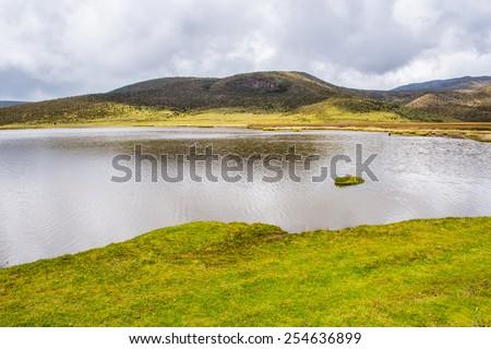 Beautiful lagoon of the Cotopaxi National Park, Ecuador - stock photo