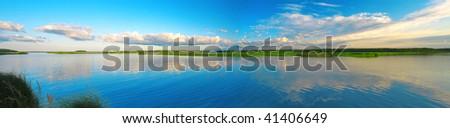 beautiful lake and sunset - stock photo