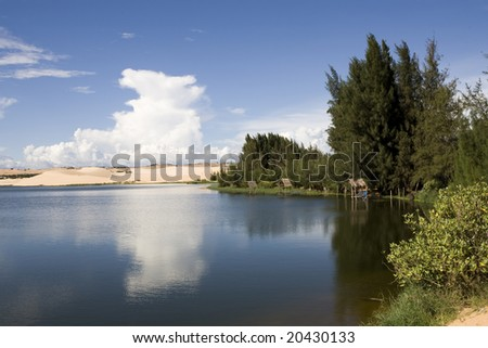 beautiful lake and white sand dunes at sunny day