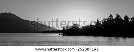 Beautiful Lake Brunner at Sunset  in black and white, South Island, New Zealand. - stock photo