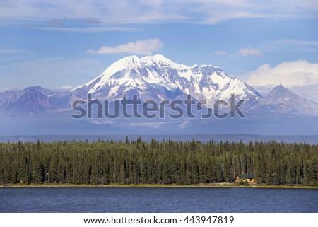 Beautiful lake cabin in Alaska - stock photo