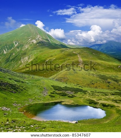 beautiful lake in a green mountains - stock photo