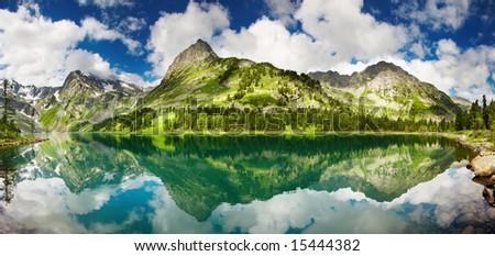 Beautiful lake in Altai mountains - stock photo