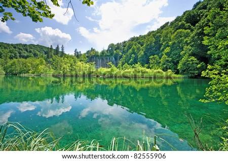 Beautiful lake in forest, Plitvice, Croatia - stock photo