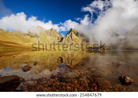 Beautiful lake in Georgia mountains - stock photo