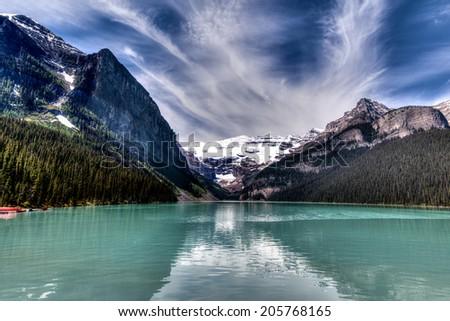 Beautiful Lake Louise in Banff National Park, Canada - stock photo