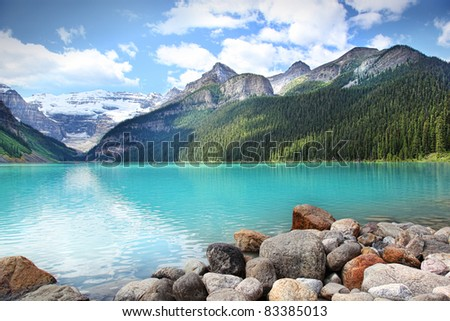 Beautiful Lake Louise located in the Banff National Park, Alberta, Canada - stock photo