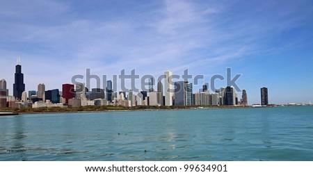 Beautiful Lake Michigan and the Chicago Skyline - stock photo