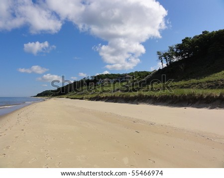Beautiful Lake Michigan shoreline and beach in the summer