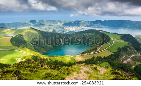 Beautiful lake of Sete Cidades, Azores, Portugal Europe  - stock photo
