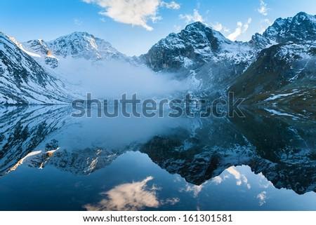 beautiful  lake of the mountain for tourists - stock photo
