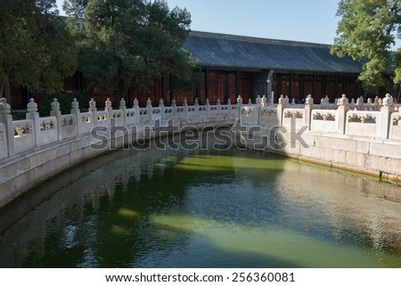 Beautiful lake on the territory of the temple and museum of Confucius, Beijing, China - stock photo