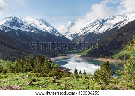 Beautiful lake Speicher Durlassboden in the Austrian Alps