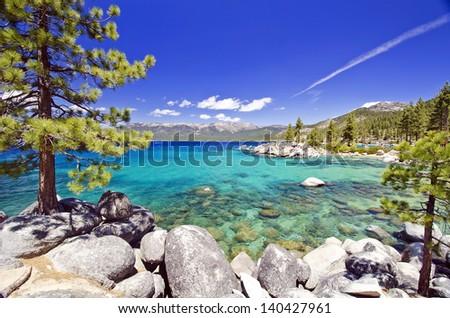 Beautiful lake tahoe beach - stock photo