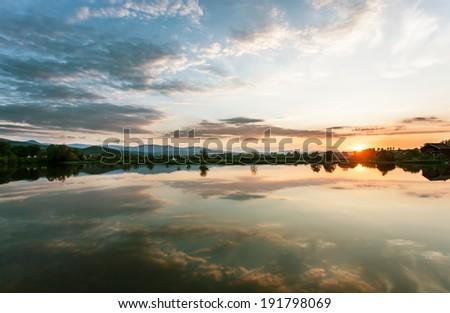 Beautiful lake to sunset 3 - stock photo