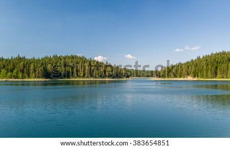 Beautiful lake with islands covered by thick coniferous forests. Mountain lake at Durmitor park, Montenegro